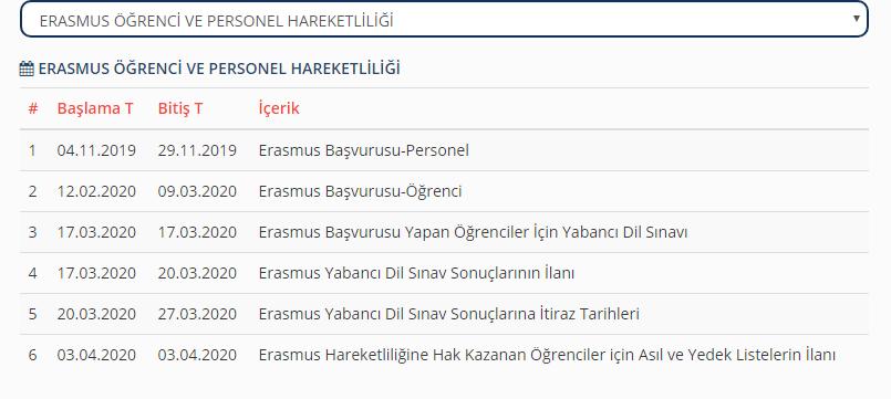 Erasmus Takvim