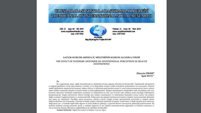 Bölüm Başkanımız Doç. Dr. Hüseyin Dikme ve Bölüm Başkan Yardımcımız Dr. Öğr. Üyesi İpek Sucu'nun Uluslararası Dergide Makalesi Yayımlandı Haberi
