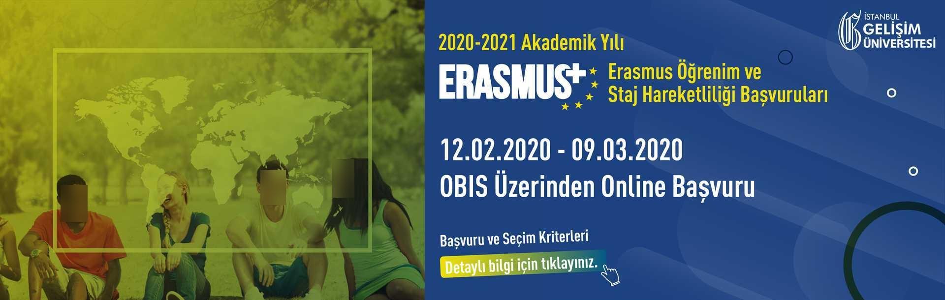 2020-2021 Akademik Yılı Erasmus+ Öğrenim ve Staj Hareketliliği Başvuruları