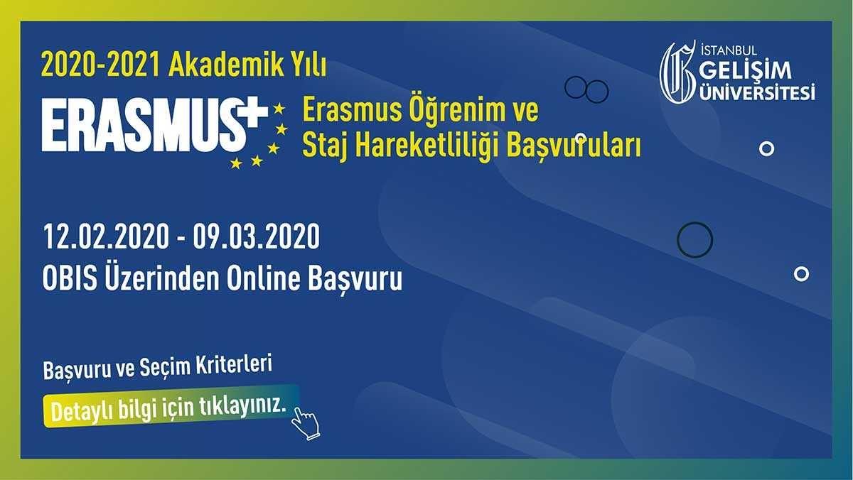 2020-2021 Akademik Yılı Erasmus+ Öğrenci Hareketliliği Başvuruları