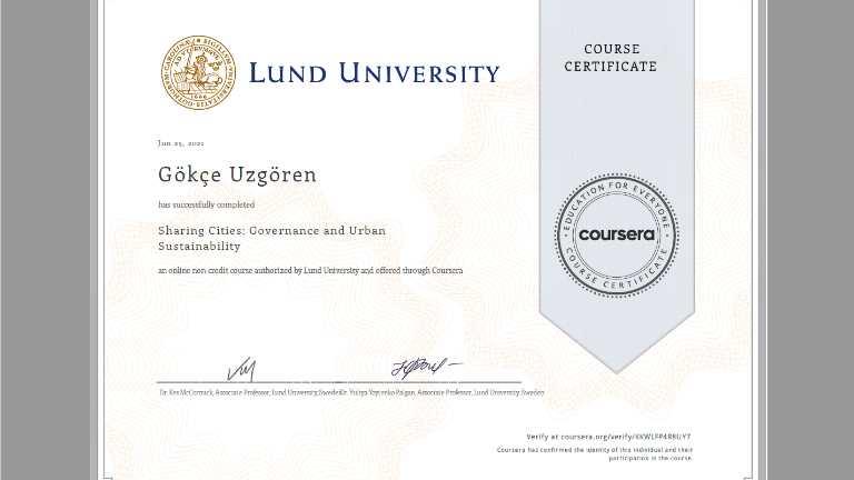 lund university sertifika gökçe uzgören